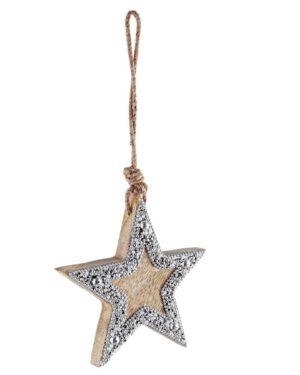Estrella Navidad en Madera Natural