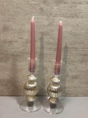 2 Candelabros de Cristal 20x9 cm