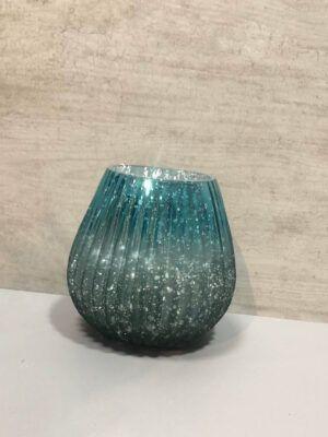 Velero o jarron tornasolado azul turquesa