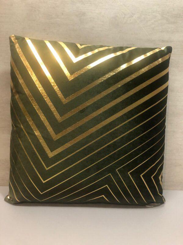 Cojin lineas Abstracto verde-oro 45x45