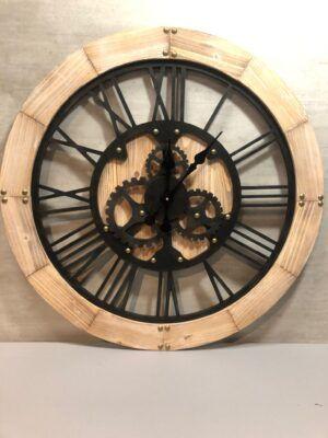 Reloj de madera natura y hierro negro 90 cm